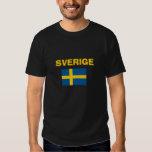 Svensk - Flagga Svart skjorta Swedish Flag Black Tee Shirt