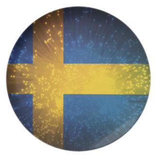 Sverige Bandera de Suecia Plato De Comida