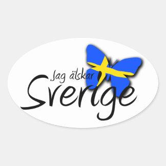 Sverige Calcomania Oval Personalizadas