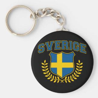 Sverige Basic Round Button Keychain
