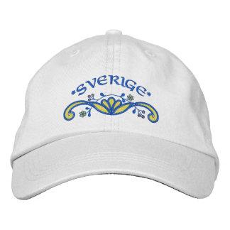 Sverige Sweden Flourish Embroidered Baseball Caps