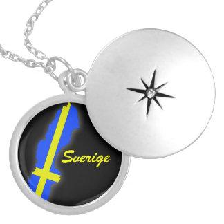 Sverige = Sweden Map Locket Necklace