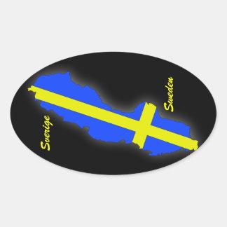 Sverige = Sweden Map Oval Sticker