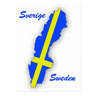 Sverige = Sweden Map Postcard