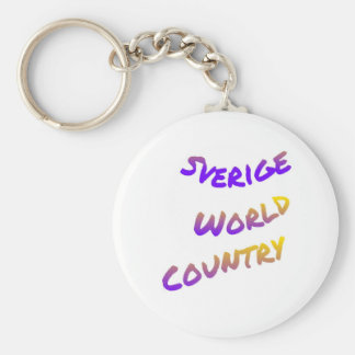 Sverige world country, colorful text art keychain