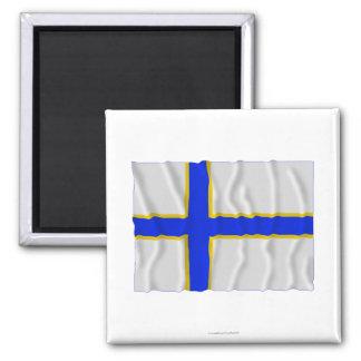 Sverigefinska waving flag magnet