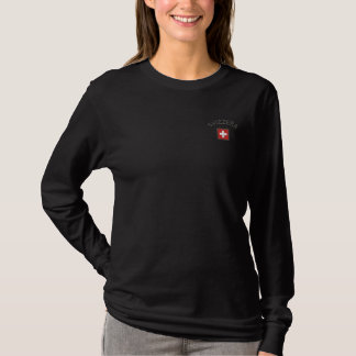 Svizzera Long Sleeve With Switzerland Pocket Flag Embroidered Long Sleeve T-Shirt
