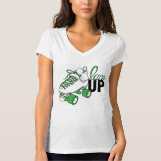 "SVRG ""Lace Up"" V-Neck T-Shirt, White T-Shirt"