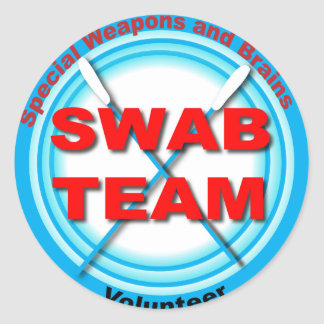 SWAB Special Weapons And Brains Classic Round Sticker