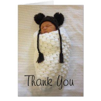Swaddled Newborn Thank You Card