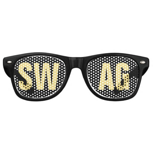 SWAG Black and Gold Party Retro Sunglasses