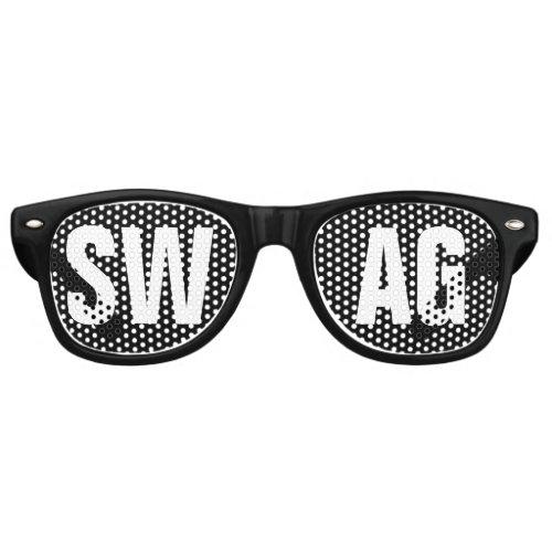 SWAG Black and White Party Retro Sunglasses
