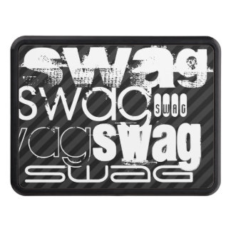 Swag; Black & Dark Gray Stripes Tow Hitch Cover