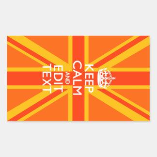 Swag británico anaranjado de la bandera de Union Pegatina Rectangular