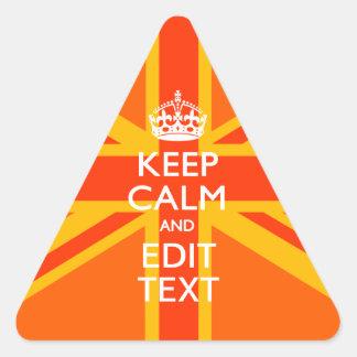 Swag británico anaranjado de la bandera de Union Pegatina Triangular