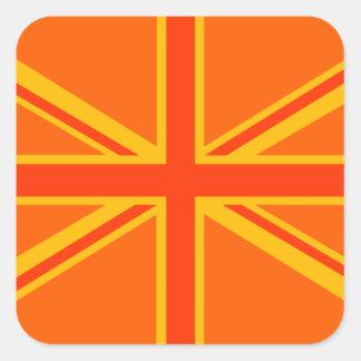 Swag británico anaranjado intrépido de la bandera pegatina cuadrada