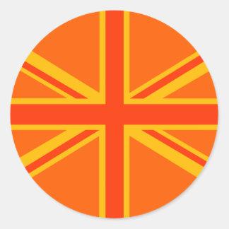 Swag británico anaranjado intrépido de la bandera pegatina redonda