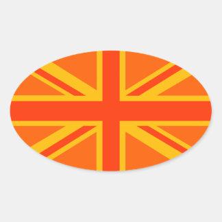 Swag británico anaranjado vibrante de la bandera pegatina ovalada