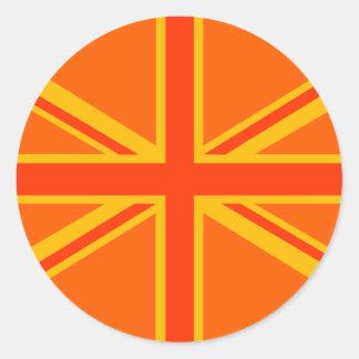 Swag británico anaranjado vibrante de la bandera pegatina redonda
