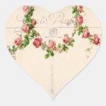 Swag color de rosa francés pegatina en forma de corazón