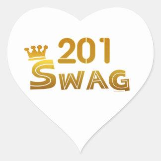 Swag de 201 New Jersey Pegatina Corazon Personalizadas