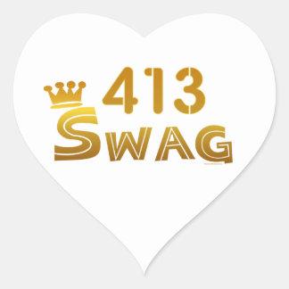 Swag de 413 Massachusetts Pegatina En Forma De Corazón