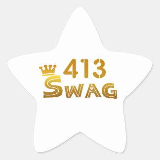 Swag de 413 Massachusetts Pegatina En Forma De Estrella