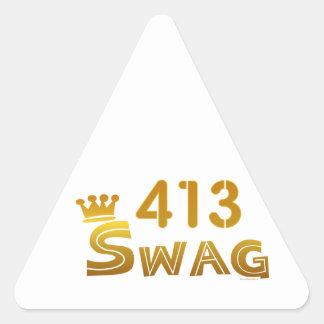 Swag de 413 Massachusetts Pegatina Triangular