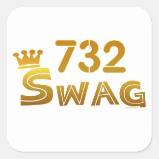 Swag de 732 New Jersey Calcomanía Cuadradas Personalizada