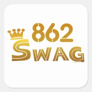 Swag de 862 New Jersey Calcomania Cuadrada Personalizada