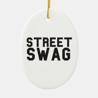 Swag de la calle adorno navideño ovalado de cerámica