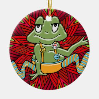 Swag de la rana del navidad (personalizado) adorno navideño redondo de cerámica