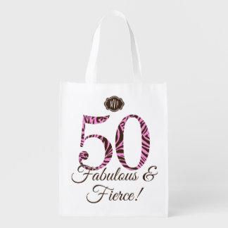 Swag fabuloso y feroz del 50.o cumpleaños del mono bolsa de la compra