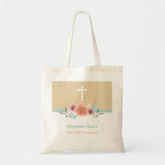 Swag floral de la comunión en oro y aguamarina bolsa tela barata