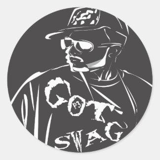 swag in white classic round sticker