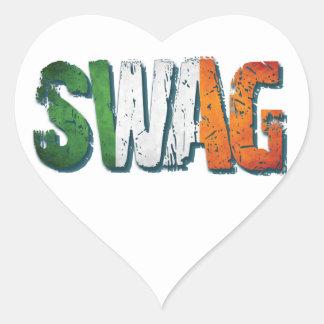 Swag irlandés pegatina en forma de corazón