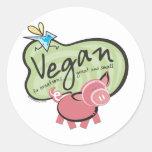 Swag lindo del mensaje del vegano etiqueta redonda