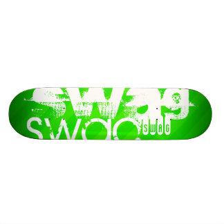 Swag; Neon Green Stripes Skateboard Deck