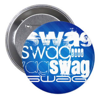 Swag; Royal Blue Stripes 3 Inch Round Button