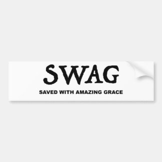 SWAG SAVED WITH AMAZING GRACE BUMPER STICKER