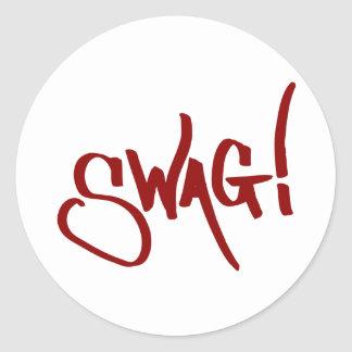 Swag Tag - Red Classic Round Sticker