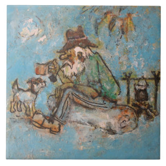 Swagman and his dog large square tile