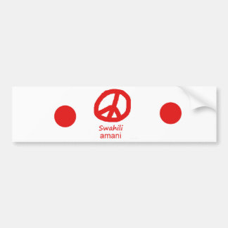 Swahili Language And Peace Symbol Design Bumper Sticker