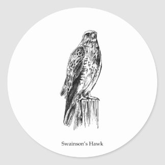 Swainson's Hawk Logo (perched) Classic Round Sticker