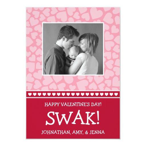 """¡SWAK! Tarjeta de la foto del día de Valetine Invitación 5"""" X 7"""""""