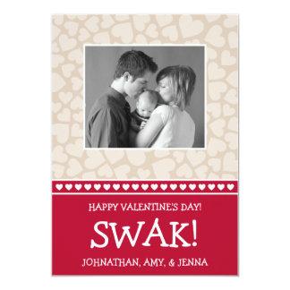SWAK! Valetine's Day Photo Card (Dark Red / Beige)