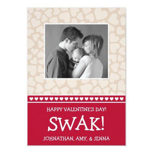 SWAK! Valetine's Day Photo Card (Dark Red / Beige) Personalized Announcement