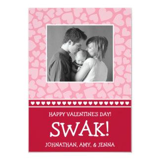 SWAK! Valetine's Day Photo Card (Dark Red / Pink)