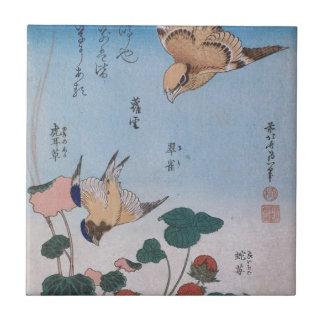 Swallow and begonia and strawberry pie Katsushika Tile