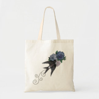 Swallow and Flowers Tote Bag